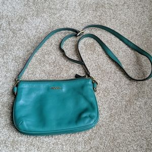 Fossil teal small crossbody bag
